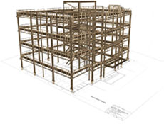 Steel Layout Drawing with 3D Model Interposed